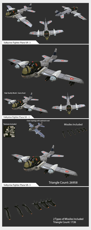 Game Ready Asset - Valkyrine Flighter Pane VA-03 - 3DOcean Item for Sale