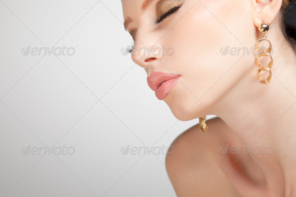 beautiful woman wearing jewelry, very clean image with copy space - Stock Photo - Images