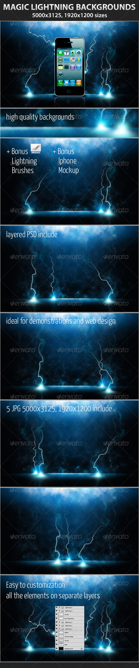 GraphicRiver Magic Lightning Backgrounds 1488612