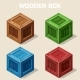 Colored Isometric Wooden Box Icon