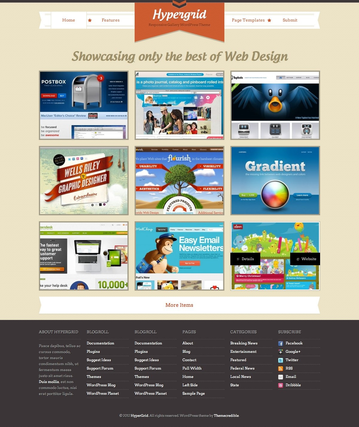 HyperGrid: Responsive Gallery Showcase WP Theme - HyperGrid Homepage