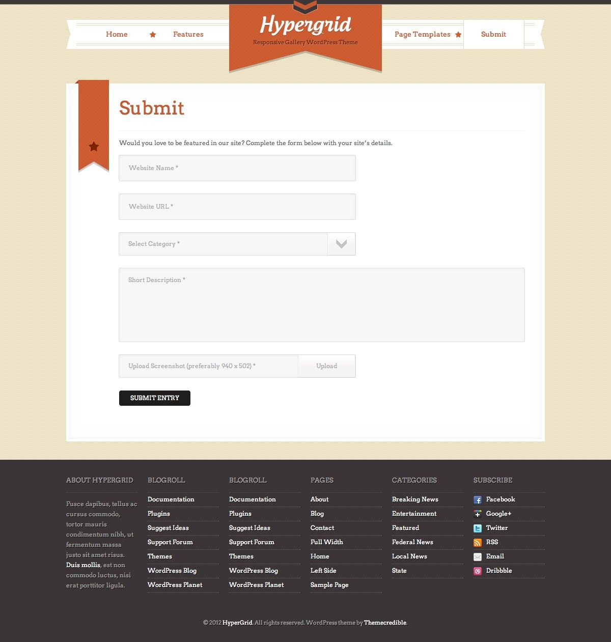HyperGrid: Responsive Gallery Showcase WP Theme - HyperGrid Submit Site Page