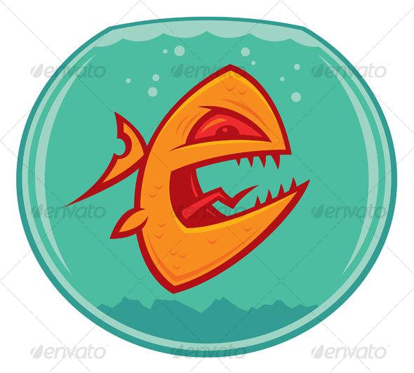 cute goldfish cartoon. Angry Goldfish Cartoon