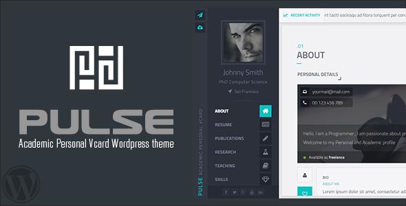 Pulse - Academic / Personal Vcard WordPress theme