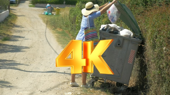 Download Woman Taking Out The Litter To Street Container nulled download