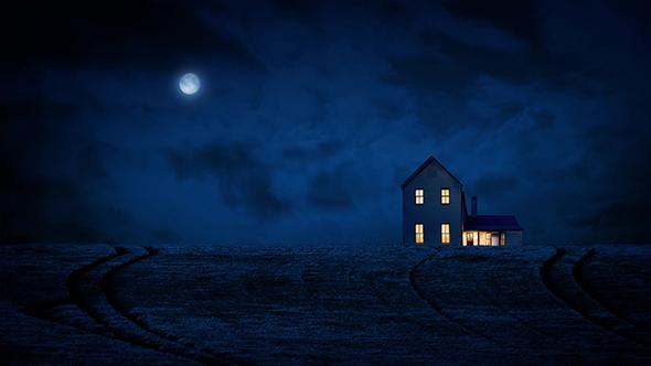 House In Country yöllä Moon - Taustat Motion Graphics