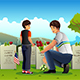 Father Son Visiting Cemetery on Memorial Day