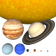 Solar System - scaled Planets and Sun scene
