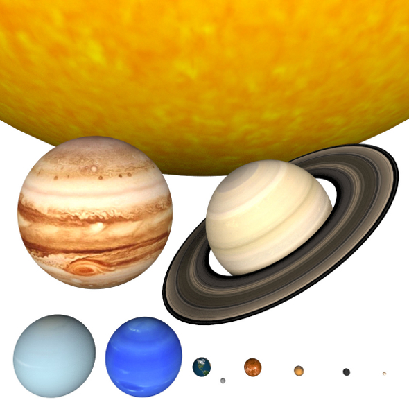 Solar System - scaled Planets and Sun scene - 3DOcean Item for Sale