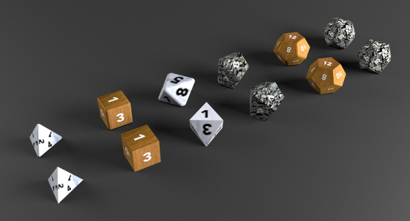 6+6 RPG D&D dice set/collection (UV Mapped, Textured) - 3DOcean Item for Sale