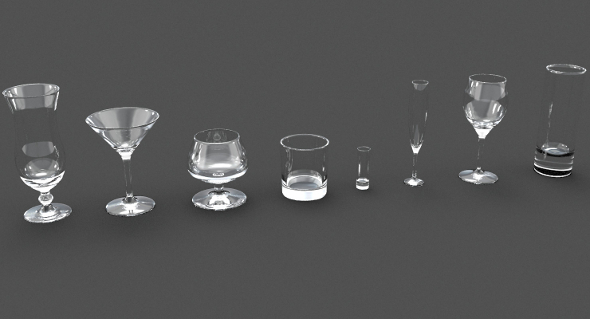 8 cocktail glasses (martini, shot, whiskey, wine, champagne flute, snifter, collins, cocktail) - 3DOcean Item for Sale