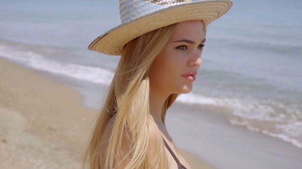 Download Pensive Young Woman In a Sunhat At The Sea nulled download