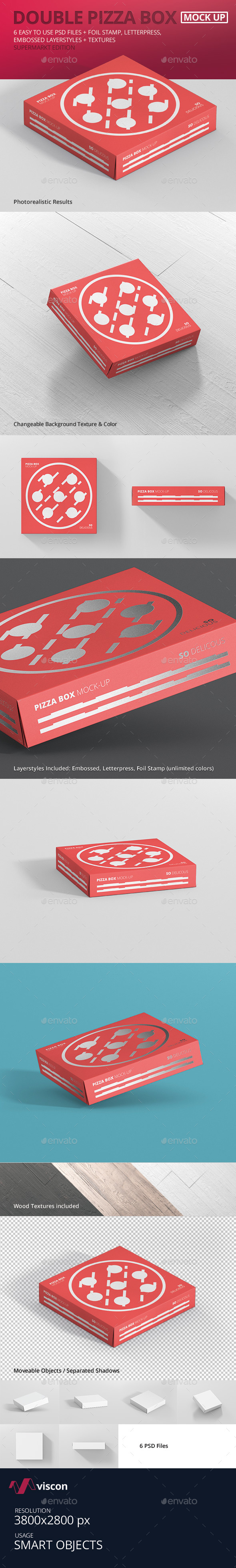 Pizza Box Mockup - Double Pack Supermarket Edition