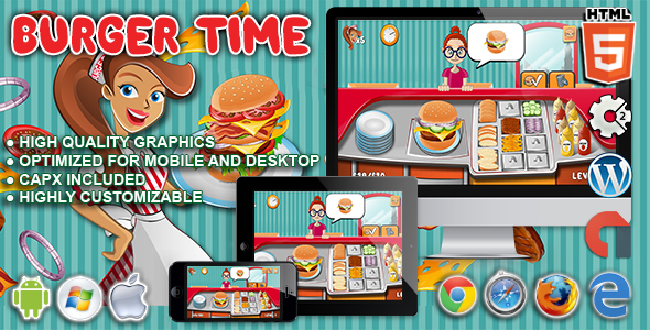 Download Burger Time - HTML5 Construct Cooking Game