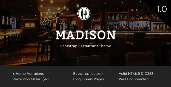 Madison - Bootstrap Restaurant Theme