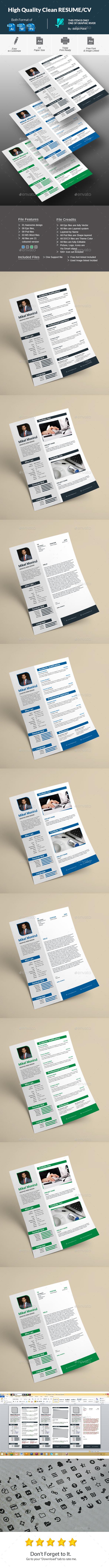High Quality Clean Resume/Cv