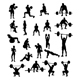 Download Vector Dumbbell Exercises and Weightlifter Silhouettes