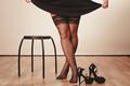 Sexy woman legs in black