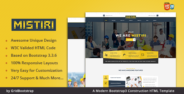 Mistiri | Bootstrap3 Construction HTML Template