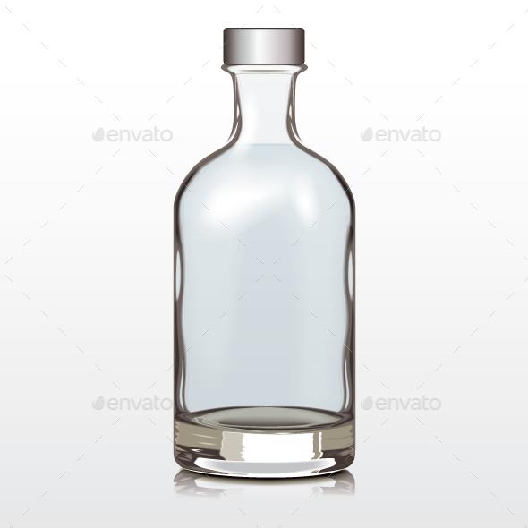 Mockup Glass Bottle Silver Cap