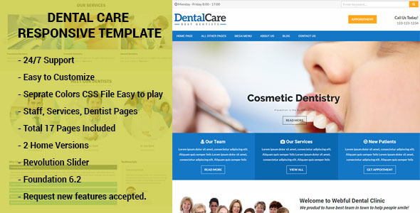 Dental Care - Responsive HTML Template Dentists, Doctors, Clinics