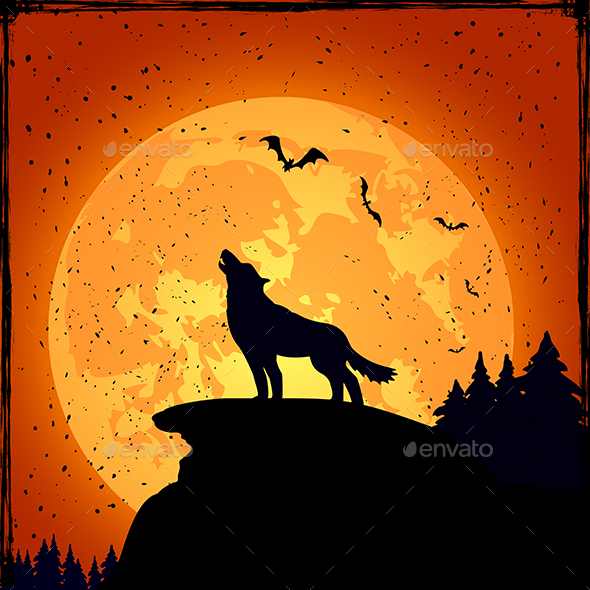 Halloween Background with Wolf