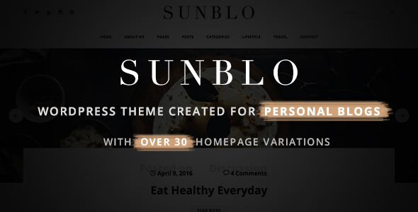 Sunblo – Responsive WordPress Blog Theme (Personal) Download