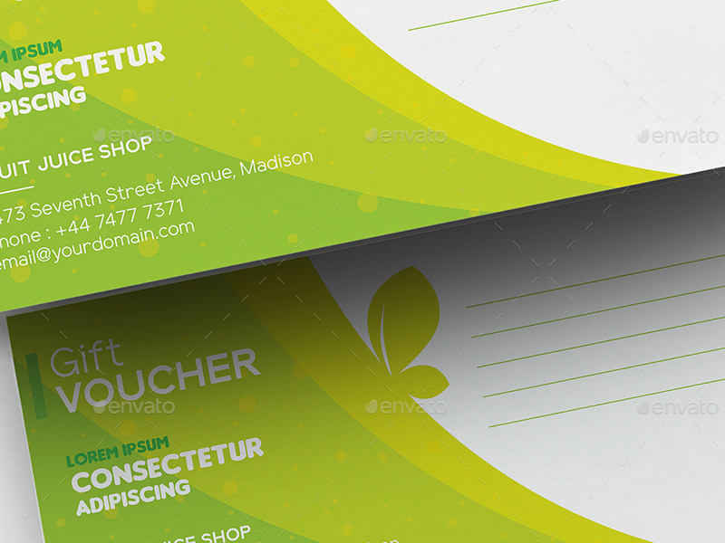 Fruit Juice Shop Gift Voucher and Name Card Template by wutip2 – Voucher Card Template