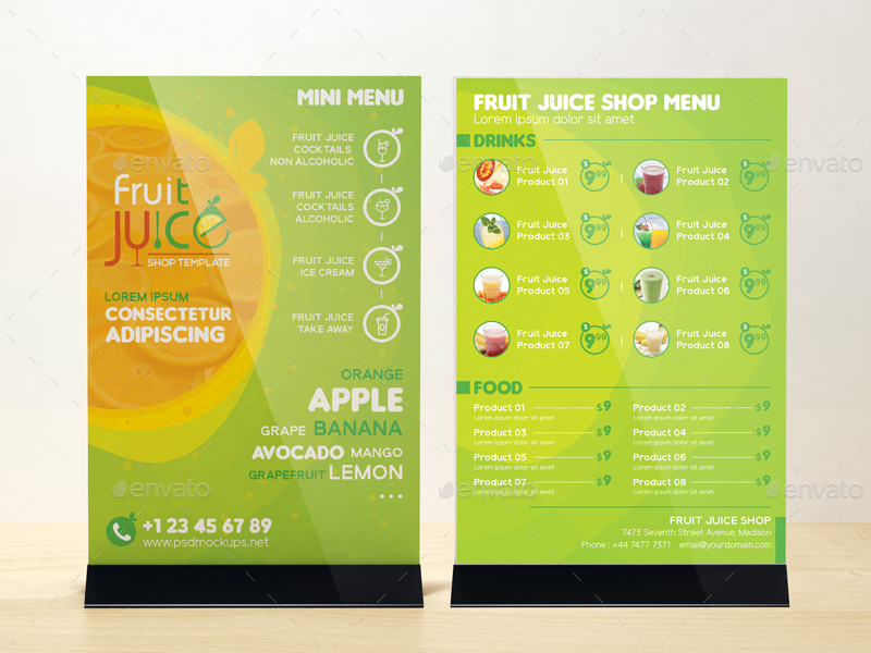 Fruit juice shop take out brochure and mini menu template for Mini brochure template