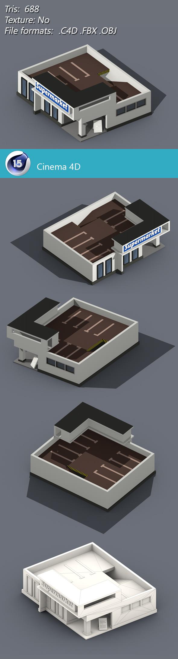 Low Poly Supermarket - 3DOcean Item for Sale