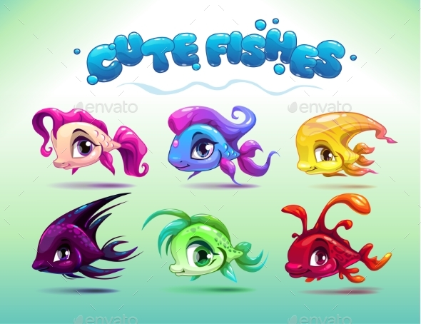 Cartoon Little Fishes Set
