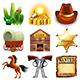 Wild West Icons Vector Set