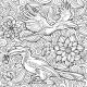 Seamless Pattern of Flowers and Parrots