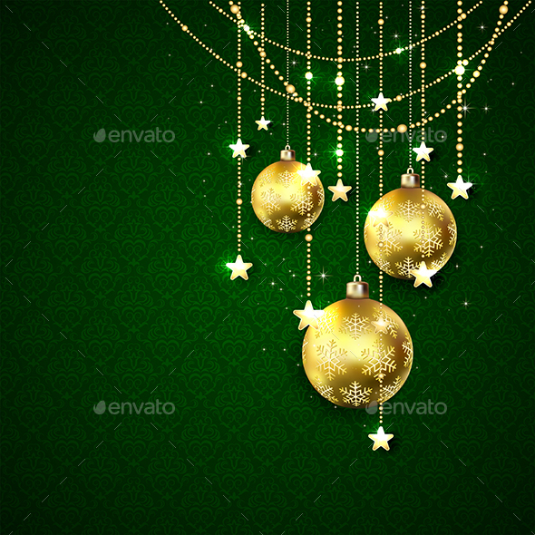 Christmas Balls on Green Background