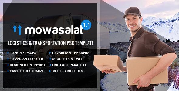 Mowasalat - Logistics and Transports PSD Template