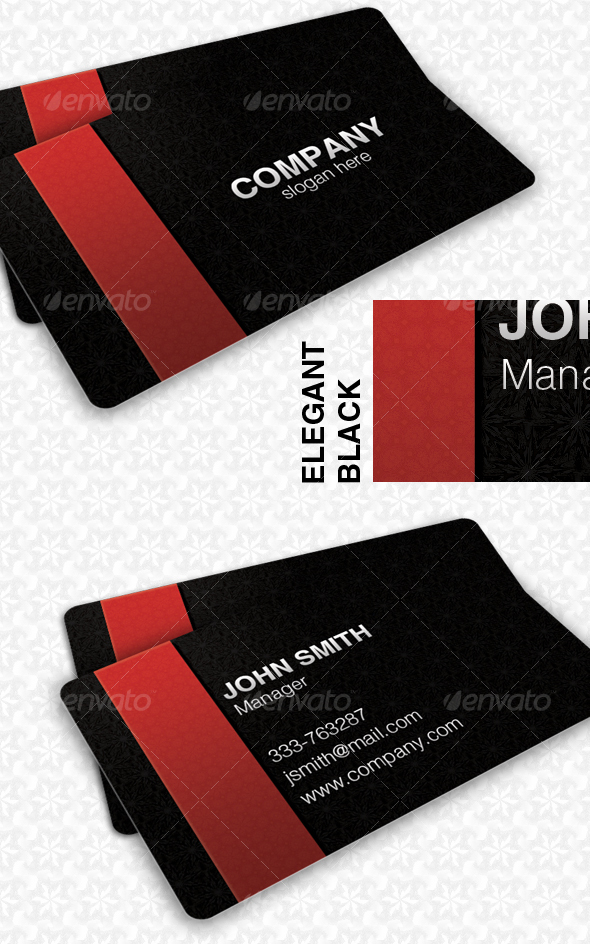 Elegant Black Pattern Card - Corporate Business Cards