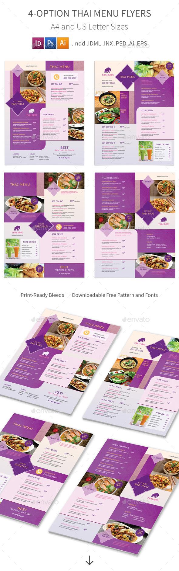 Thai Restaurant Menu Flyers 3 – 4 Options