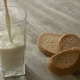 Pouring Glass Of Milk And Grain Bread On Background Wooden Table