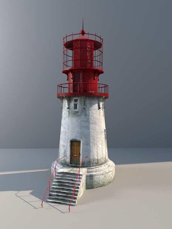 3D Lighthouse low-poly with LODs and PBR textures - 3DOcean Item for Sale