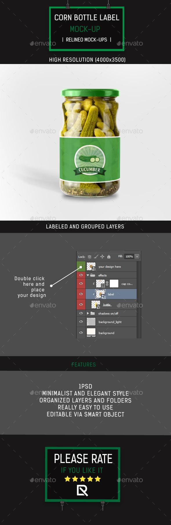 Cucumber Can Bottle Label Mock-up
