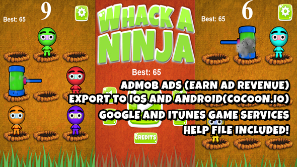 Whack A Ninja  Warrior Source Code (Construct 2)