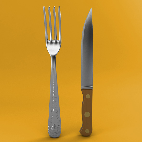 Fork and Wood Handle Knife - 3DOcean Item for Sale