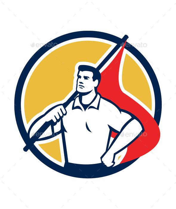 Union Worker Holding Flag Circle Retro