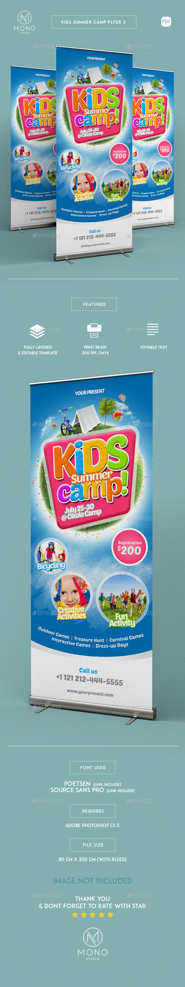 Kids Summer Camp Roll-up Banner 2