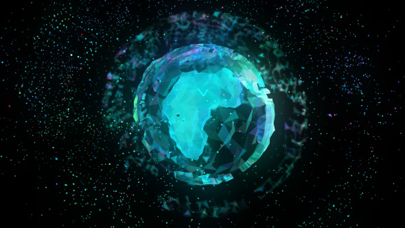 Polygonal Maan hologrammi - Technology Taustat Motion Graphics