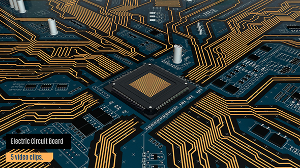 Download Electrical Circuit Board with CPU and Components Animation-5 Pack nulled download