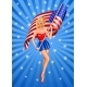 Pin-Up Blond Patriotic Woman