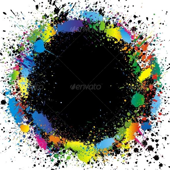 GraphicRiver Color paint splashes border Vector background 64253
