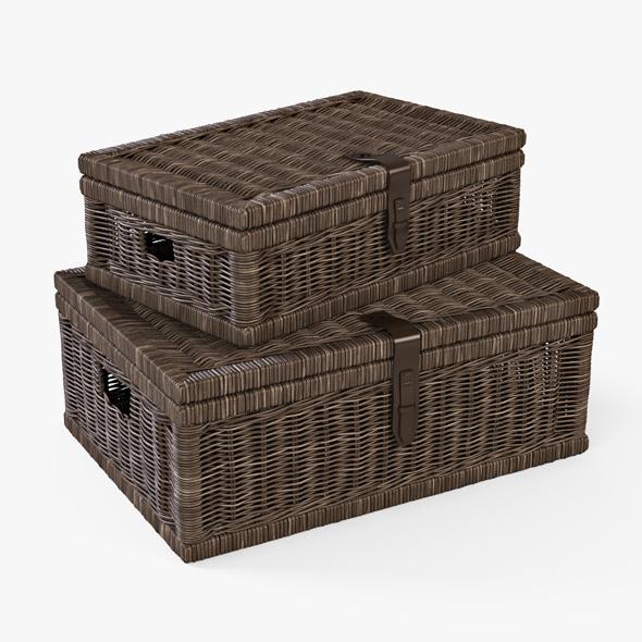 Wicker Basket 06 (Walnut Brown Color) - 3DOcean Item for Sale