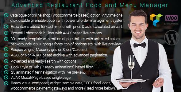 Wordpress- Advanced Restaurant Menu Manager